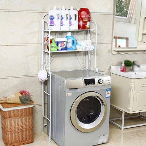 MAIKA HOME - Support de machine à laver/support de stockage de salle de bain de toilette/support de lavabo/étagères de toilette (Couleur: Blanc)