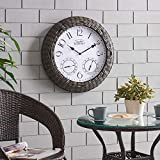 FirsTime & Co. Everett Rattan Outdoor Clock, American Crafted, Dark Brown, 24 x 3.25 x 24 ,