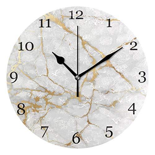 funnyy Weiße Marmor Gold Glitzer Wanduhr lautlos nicht tickend Schreibtisch Uhren moderne Kunst Wand Deko für Schlafzimmer Büro Wohnzimmer Küche Home Decor Qualität Quarz batteriebetrieben