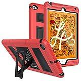 MoKo Funda Compatible con New iPad Mini 5 2019 (5th Generation 7.9 Inch)/iPad Mini 4, Plegable Silicona Durable Protector con Función de Soporte Trasera Dura Cover Case - Rojo