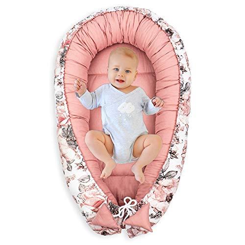 Nido para Bebe - Reductor de Cuna Nido Bebe Recien Nacido algodón con Certificado Oeko-Tex (Wilde Rose - Rosa Algodón, 90 x 50 cm)