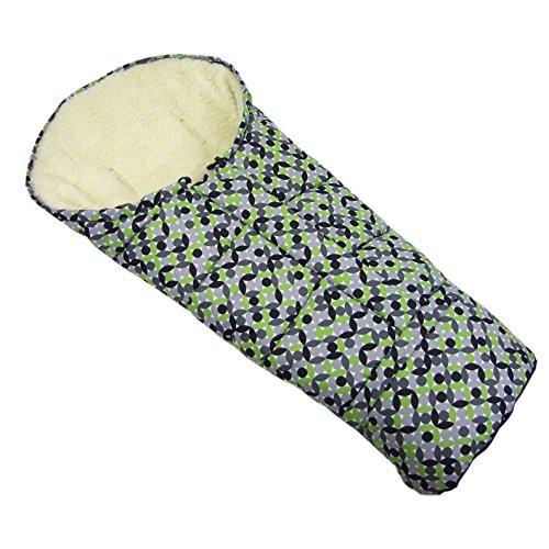 BAMBINIWELT wintervoetenzak in mummievorm voor kinderwagen, joggers, buggy of slee, van wol, grootte aanpasbaar, muMIE lichtgroen grijs mozaïek