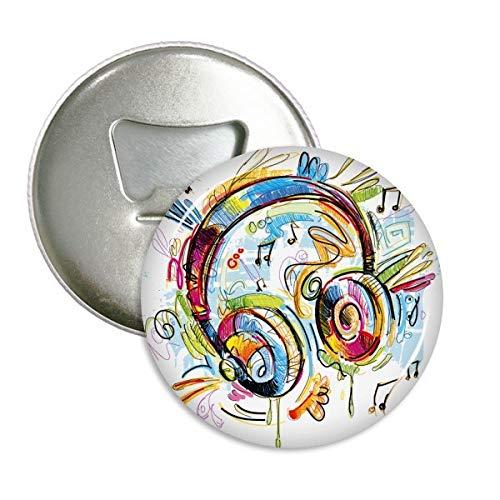 DIYthinker Bunte Kopfhörer Musik Verrücktes Muster rund Flaschenöffner Kühlschrank Magnet Pins Abzeichen-Knopf-Geschenk 3pcs Silber