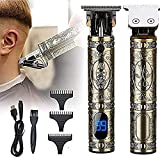 MUGYANG 2021 New Cordless LED Display Hair Clipper 0.00mm Barber Outliner T-Blade Hair Trimmer, Mens Hair Trimmer, Beard Trimmer Shaver, Gifts for Father and Him (Bronze)