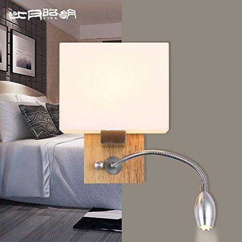 TYDXSD Solide Bois Mur De Led Lampe Chevet Minimaliste Moderne Chêne Chambre Balcon Carrée Allée Éclairage 170 * 120 * 250 Mm