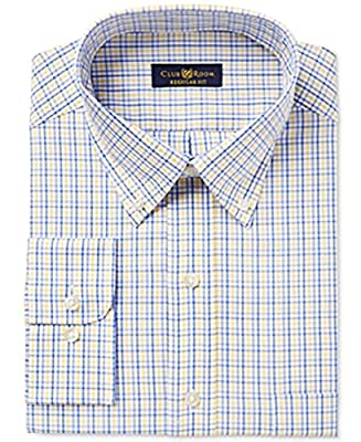 Club Room Mens Estate ClassicRegular Fit Plaid Dress Shirt