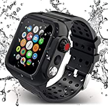 ADDSMILE Compatible for Apple Watch Band with Case 44mm Series 5/4, Waterproof Case with Soft Silicone Band and Anti-Scratch Screen Protector, 360°Protective Case Compatible with iWatch 44mm