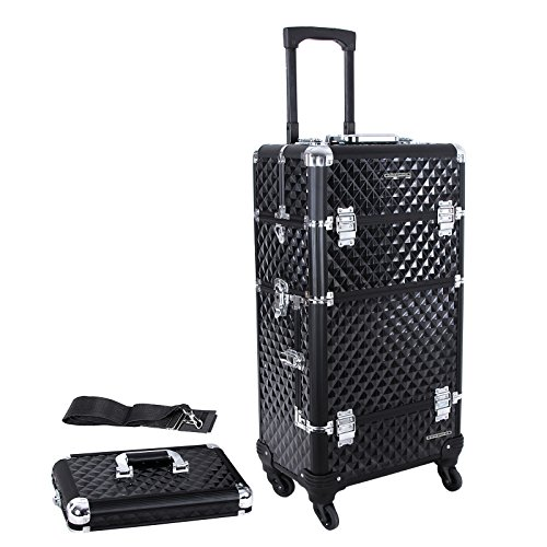 SONGMICS 2-in-1 Rolling Train Case with 4 Wheels Aluminum Professional Cosmetic Trolley Box with 4 Trays 2 Locks 1 Organizer UJHZ04B