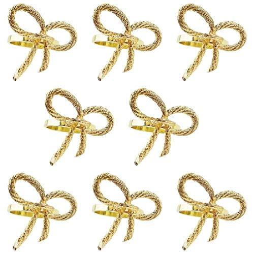 SWEETWU 8 unids/lote de oro servilleta anillo mariposa pajarita servilleta hebilla hotel restaurante comedor corazón servilleta anillos a granel