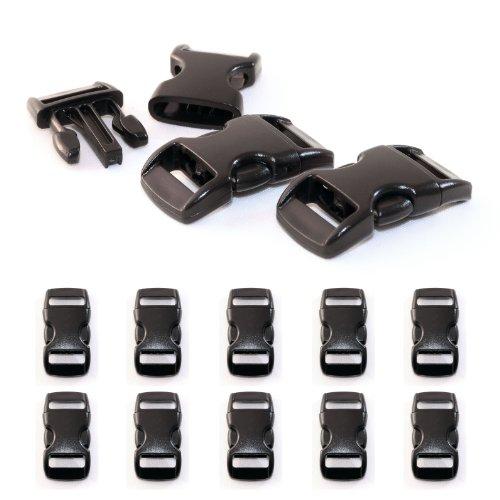 """Fermoir à clip en plastique, idéal pour les paracordes (bracelet, collier pour chien, etc), boucle, attache à clipser, grandeur: 3/8"""", 29mm x 15mm, couleur: noir, de la marque Ganzoo - lot de 10 fermoirs"""