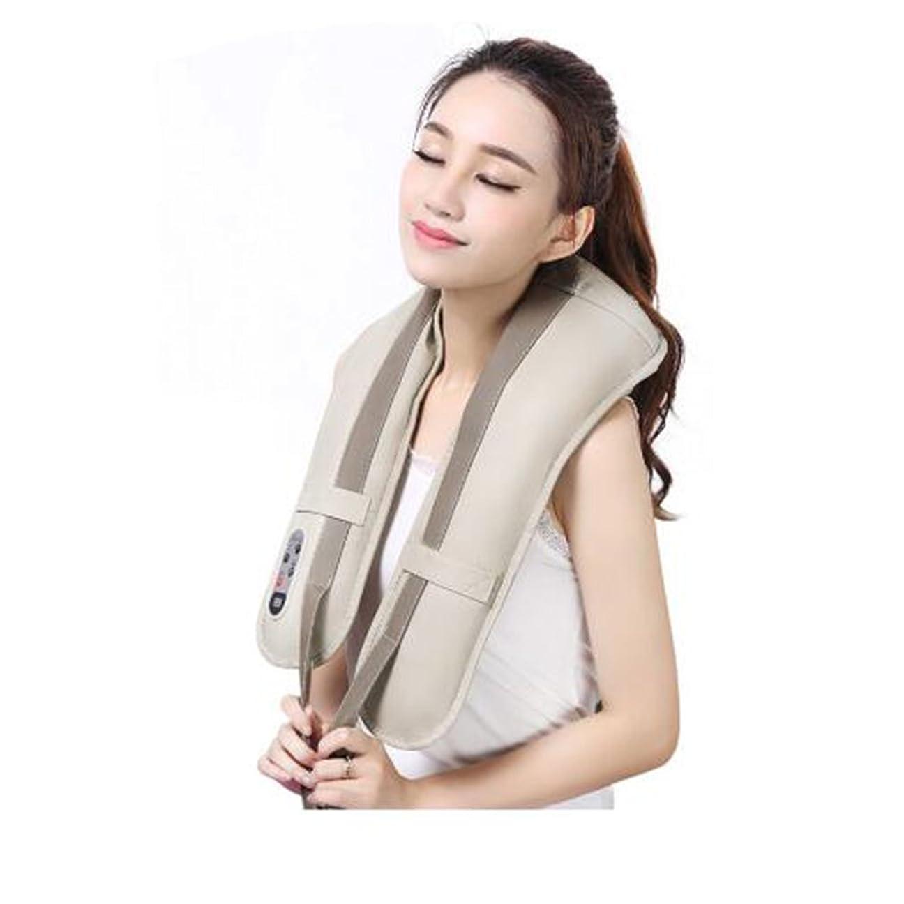 知性矢に向かってホットネックマッサージャーポータブル電気パーカッション頸部マッサージショールの痛みの首と肩の多機能タップマッサージャー (色 : A)