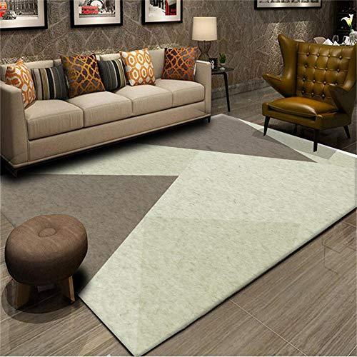 Alfombra Decoraciones para Habitaciones Alfombra de diseño geométrico marrón grisáceo Antideslizante y fácil de Limpiar Alfombra de Salon para Cocina 160X230CM