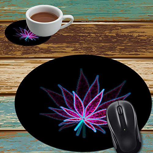 Mouse Pad and Coaster Set, Marijuana Weed Leaf Purple Mouse Pad Round Non-Slip Rubber Mousepad Office Accessories Desk Decor Mouse Mat for Desktops Computer Laptops