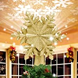 Christmas Tree Topper, Snowflake Christmas Tree Topper Lighted with 3D...