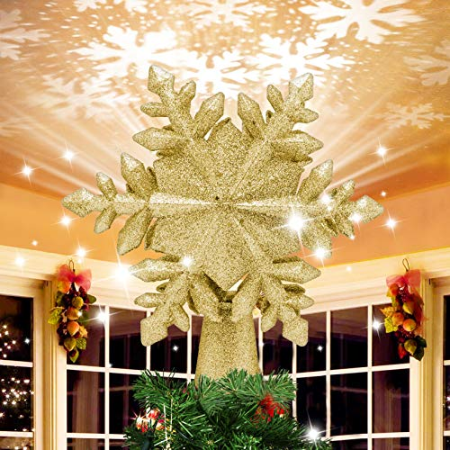 Christmas Tree Topper, Snowflake Christmas Tree Topper Lighted with 3D Magic Rotating LED Hollow Glitter Projector Xmas Tree Toppers for Christmas Decoration (Gold)