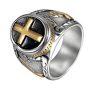 JewelryWe Schmuck Herren-Ring Edelstahl Retro Christian Heilig Kreuz Gebet Ring Bandring Gold Schwarz Silber, Größe 62