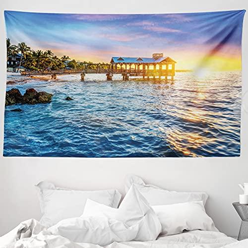 ABAKUHAUS Vereinigte Staaten Wandteppich & Tagesdecke, Florida Beach, aus Weiches Mikrofaser Stoff Wand Dekoration Für Schlafzimmer, 230 x 140 cm, Blassblau Gelb Grün