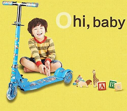 JZX Patineta Scooter-Scooter plegable para niños Patada con rueda intermitente plegable, Niño...