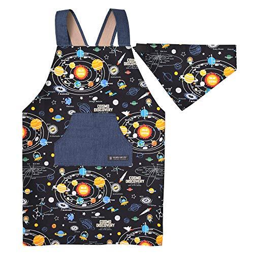 バッククロスエプロン100-120 三角巾付き 子供用 太陽系惑星とコスモプラネタリウム(ブラック) N7901910