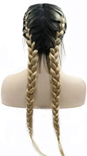 Blonde Braided Wigs with Baby Hair Heat Resistant Synthetic Lace Front Wigs for Women Girls Dark Roots Ombre Blonde Two Tone Natural 2x Twist Double Braids Long Hair Glueless Synthetic Wig 24inches