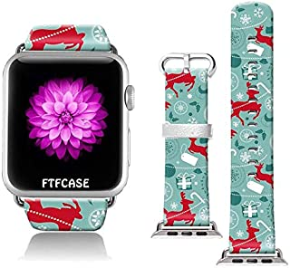 FTFCASE Compatible with Apple Watch Band 42mm 44mm, Soft Leather Replacement Sport Bands Compatible with iWatch 42mm 44mm Series 4/3/2/1 - Cartoon elk Pattern