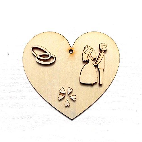 Zita's Creative Holzfiguren Set - Brautpaar mit Ring, 8 Stück, Holzdeko, Dekoholz, Holzset, Holzfigur, Holz Anhänger, Naturholz