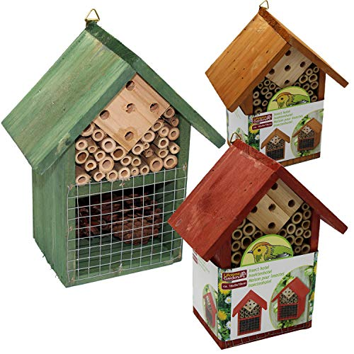 Guaranteed4Less Insect Bug Bee Hotel Hanging Wooden House Ladybird Nest Wood Shelter Box Roof