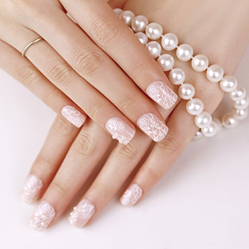 ArtPlus Faux Ongles 24pcs x 2 (2-Pack) Bride Pearls Elegant Touch False Nails with Glue Full Cover Medium Length 2 Boxes in 1 Fake Nails Art