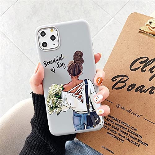 Fashion Family Candy Phone Case para iPhone 11 SE 2020 Super Mom Baby Girl para iPhone 12 Pro MAX X XS MAX XR 6 7 8 Plus, gray01, para iPhone 12