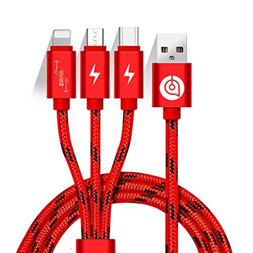 ZZL 3 en 1 Cable de Cargador Universal con Tipo C, Puerto Micro USB Cable de Carga Multi Teléfonos celulares compatibles y más (1,5 m) (Color : Red)