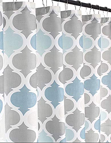 VCNY Home Universal Bathroom Fabric Shower Curtain for Men or Women: Muted Tones of Blue and Grey (Grey/Blue)