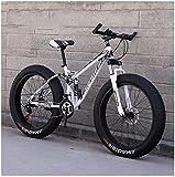 AYHa Bicicletas de montaña para adultos, Fat Tire doble freno de disco de la bici de montaña Rígidas, Big ruedas de bicicleta, Frame acero de alto carbono,Blanco,24 Pulgadas 21 Velocidad