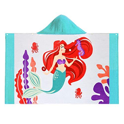 Baogaier Toalla de Baño con Capucha Niña Toalla de Playa Deportes Suave Natacion Absorbente Infantil Chica Algdón Grande Manta Personalizada Sirena Azul para Niños 1-10 años Surf Vacaciones Viajar