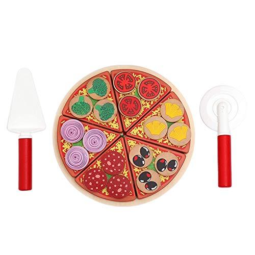 26pcs Pizza Juguetes de Madera Alimentos Cocina Simulación Vajilla Niños Cocina Pretender Jugar Fruta Vegetal con Vajilla WJ826