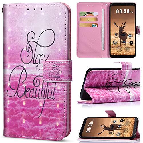 Saceebe Compatible avec Samsung Galaxy J7 Duo Coque en PU Cuir Etui à Rabat Fille Bling Glitter 3D Motif Colorés Housse Pochette Portefeuille Flip Cas