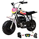 X-PRO 40cc Mini Dirt Bike Mini Pit Bike Dirt Bikes Motorcycle Gas Power Bike Off Road with Gloves, Googles and Face Mask-Pink
