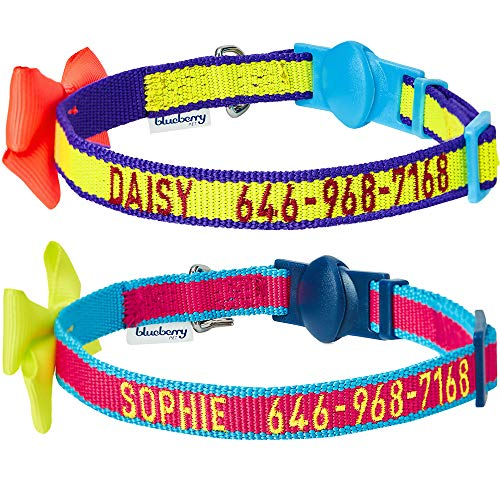 Blueberry Pet Pack of 2 Personalized Classic Solid Cat Collars with Bell and Bow Tie in Fluorescent Yellow and Pink, Adjustable Breakaway ID Collars Embroidered with Pet Name & Phone Number