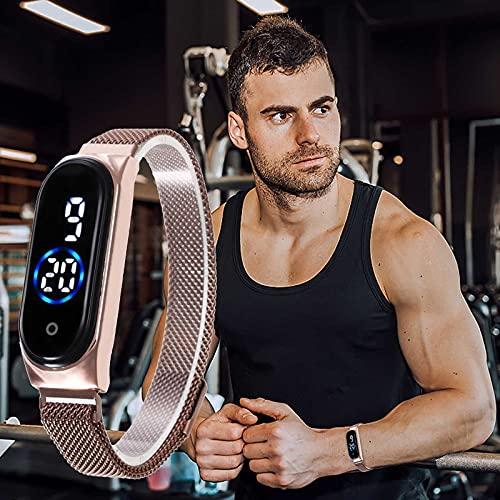 LED-Bildschirm Magnetschnallenriemen lässige Mode wasserdichte elektronische Paaruhr Magnet Schnalle Casual Fashion wasserdichte Elektronische Paar Uhr (Blauer Kreis)