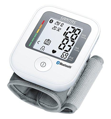 Sanitas SBC 53 Handgelenk-Blutdruckmessgerät mit Bluetooth, innovative Vernetzung zwischen Smartphone und Messgerät via App, 78 x 53 x 26 cm, weiß