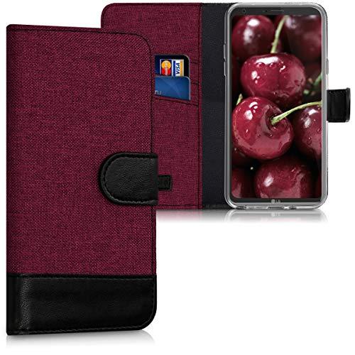 kwmobile Funda Compatible con LG Q6 / Q6+ - Carcasa de Tela y Cuero sintético Tarjetero Rojo Oscuro/Negro