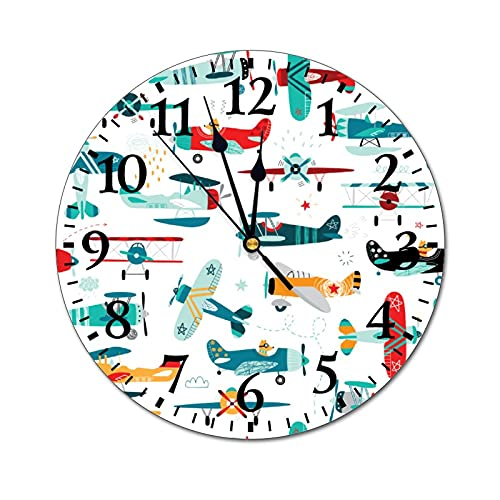 GKAOSPLSR Reloj de pared redondo silencioso de 11.8 pulgadas, funciona con pilas, para decoración de hogar, oficina, escuela, cocina, dormitorio, sala de estar, aviones divertidos