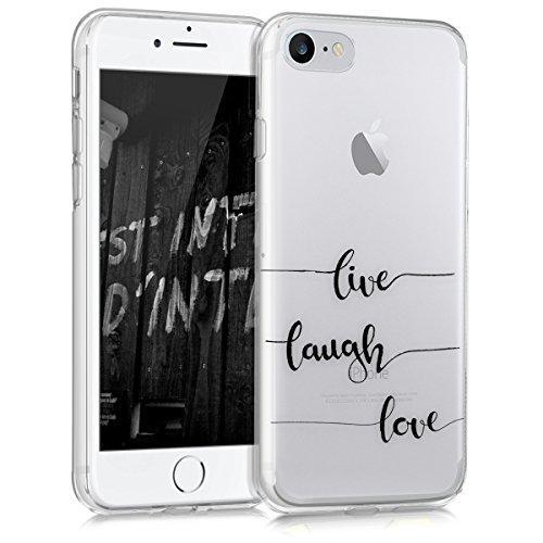 kwmobile Cover Compatibile con Apple iPhone 7/8 / SE (2020) - Custodia in Silicone TPU - Back Case Cover Protettiva Cellulare Live Laugh Love Nero/Trasparente