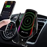 LUKKAHH R3 Wireless Car Charger Mount,Auto-Clamping Air Vent Phone Holder,10W Qi Fast Car Charging,Compatible iPhone 11/11 Pro/11 Pro Max/XS/XS Max/X/8/8+, Samsung Note9/Note10/S9+/S10+(Deep Black)…