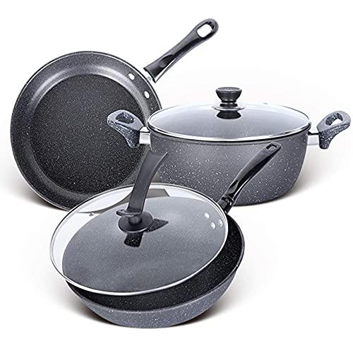 WRMIGN Juego de utensilios de cocina sartén olla de sopa olla wok antiadherente cacerola olla olla olla de cocina cazuela olla caliente vapor calderas