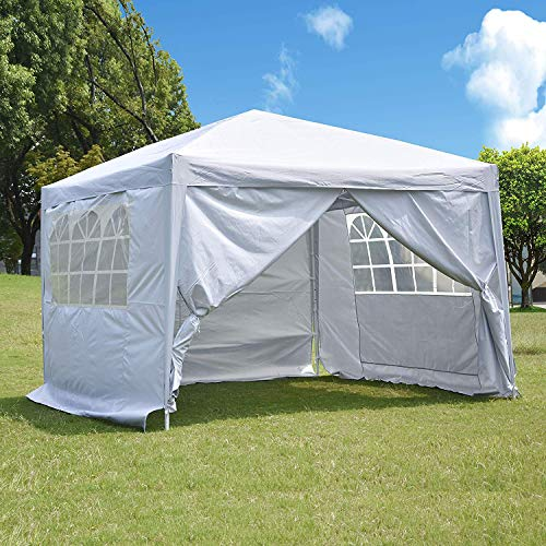 charaHOME 10 x 10 ft Heavy Duty Ez Pop Up Gazebo Canopy Tent for Outdoor Waterproof Party Wedding Exhibition Pavilion BBQ Beach with 4 Removable Sidewalls (White)…