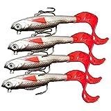 餌 ソフトルアー 釣りのロングテール 鋭いフック バイオニック 柔らかい魚の餌 9.3g 10cm 4個入り