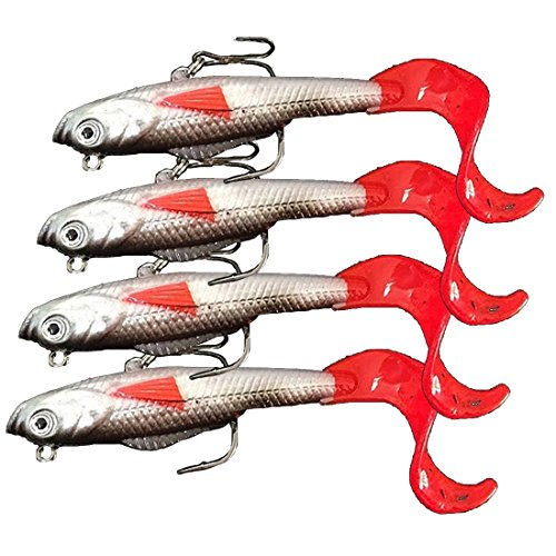 4 pièces: longues lignes, crochets aiguisés, leurres de pêche d'eau douce à tête de plomb et appat pour poisson d'eau douce, de 10 cm et 9,3 g.