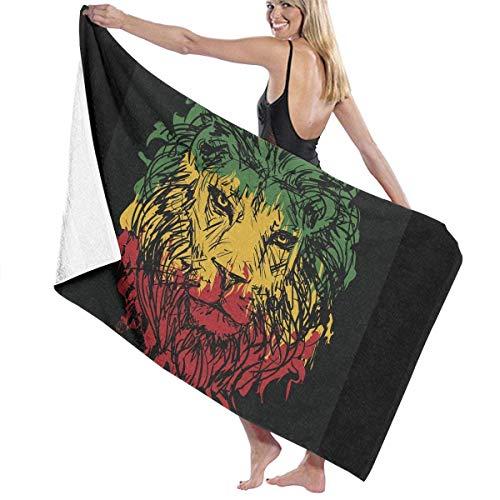 Rasta Colors Lion Toalla de Playa de Microfibra para Adultos de Gran tamaño 31x51 Pulgadas de Secado rápido Altamente Absorbente Multiusos