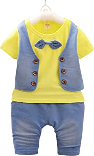 Hopscotch Baby Boys Cotton Waistcoat Style Bow Attached T-Shirt and Pant Set in Yellow Color