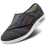 Womens Stylish Diabetic Shoes Extra Wide Widths Walking Edema Sneakers Adjustable Strap Easy On/Off with 3 Pairs Insoles Replacement for Support Swollen Feet Black Gray
